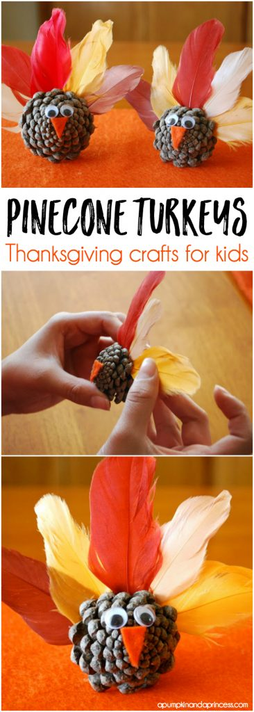 Pinecone Turkeys - Thanksgiving craft ideas for kids