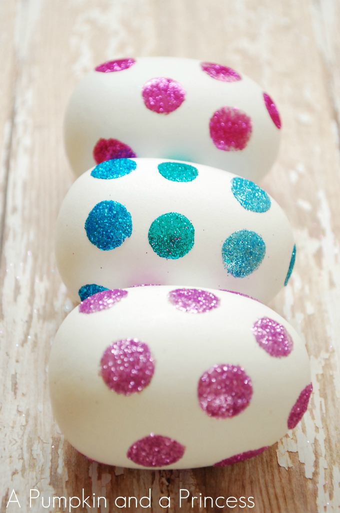 Easy Polka Dot Glitter Easter Eggs