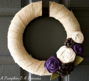 Buralp wreath with purple rosettes