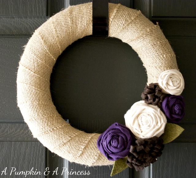 Buralp wreath with purple rosettes