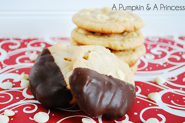 Chocolate Dipped Macadamia Nut Cookies by A Pumpkin & A Princess