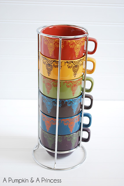 Stacked Colorful Coffee Mugs