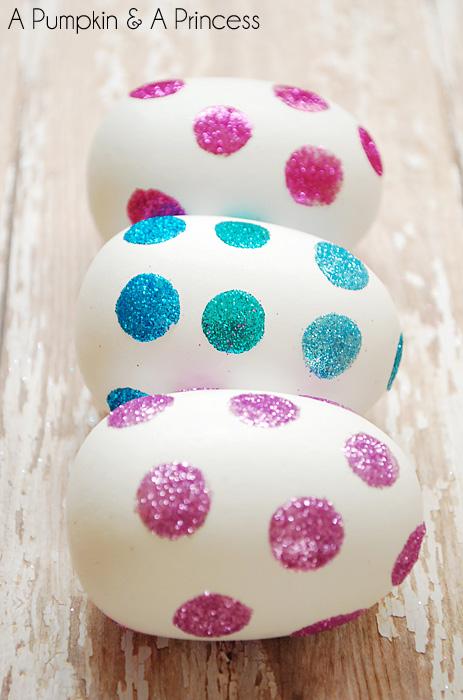 DIY Glitter Polka Dot Easter Eggs