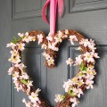 Pink heart grapevine wreath
