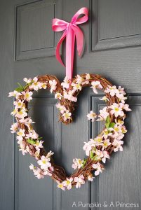 Pink heart grapevine wreath