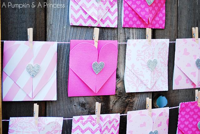 Valentine's Day Paper Heart Envelopes