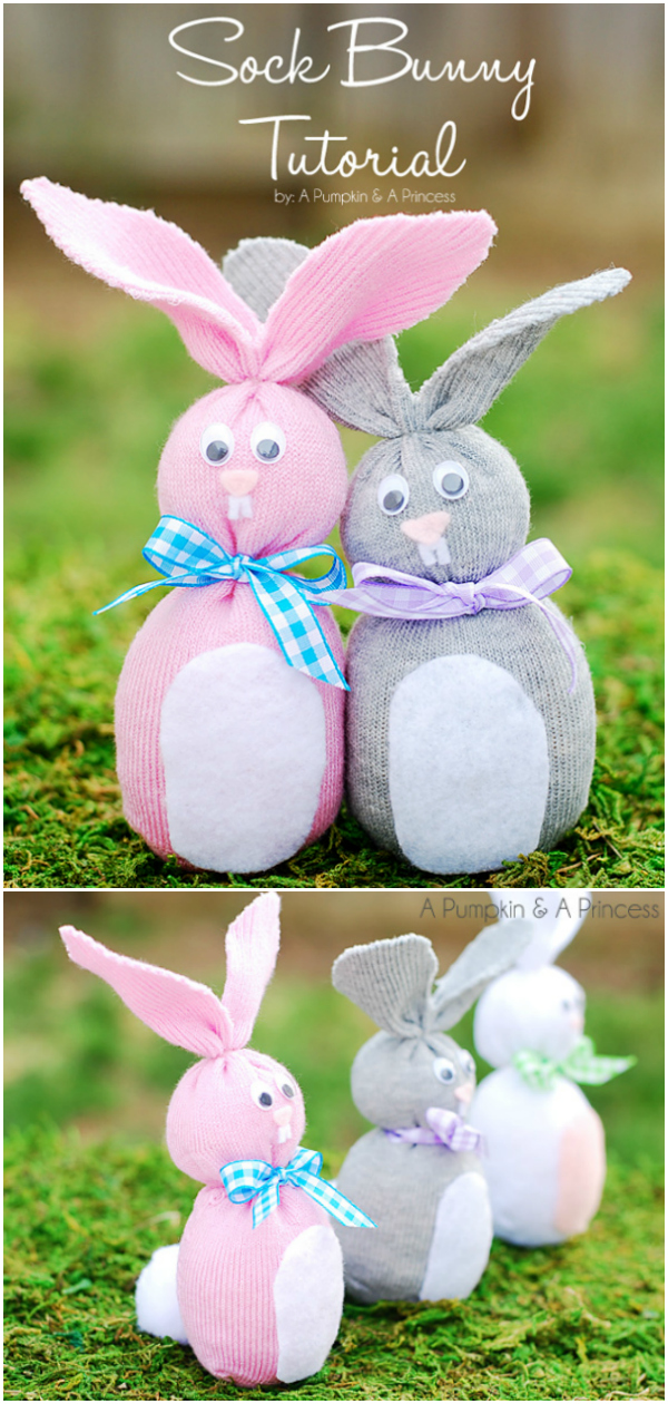 DIY Easter Sock Bunny craft for kids - how to make sock bunnies