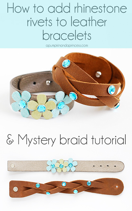 The easiest way to add rhinestone rivets to leather bracelets