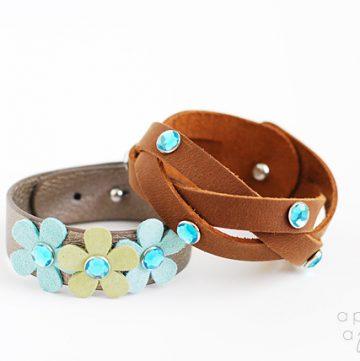 Rhinestone leather mystery braid bracelet
