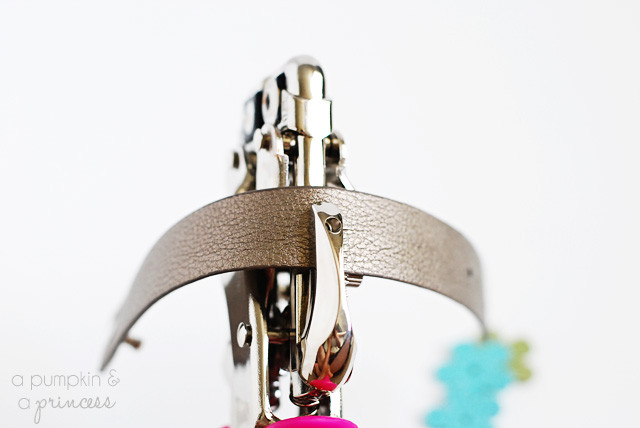 how to add a rhinestone rivet to leather bracelets