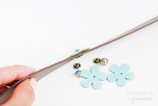 how to add a rhinestone rivet to leather bracelets