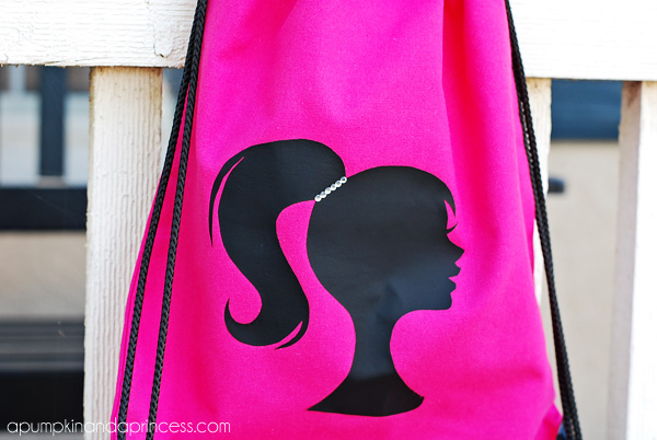 Barbie Inspired Applique Drawstring Bag