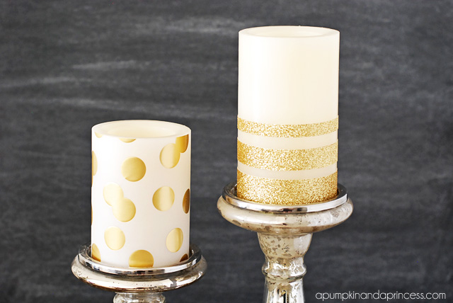 DIY Gold Glitter Candles