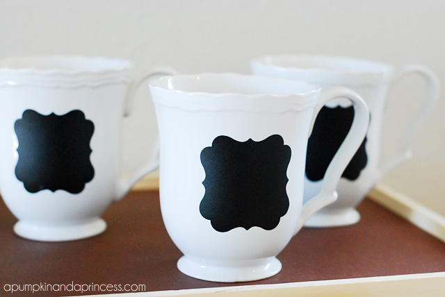 White Coffee Mugs with Chalkboard Labels