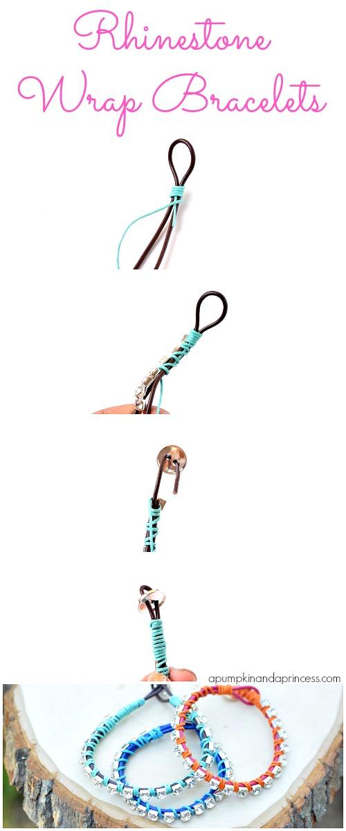 wrap bracelet with rhinestone chain