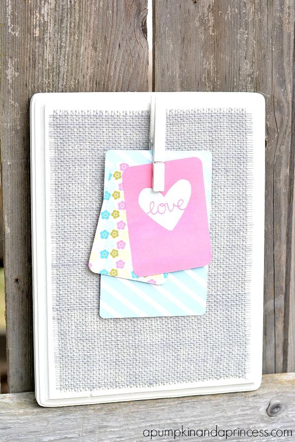 Grey Burlap Clothespin Memo Board