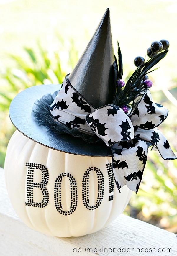 diy pumpkin vase black and white halloween decor - Black And White Halloween Decorations