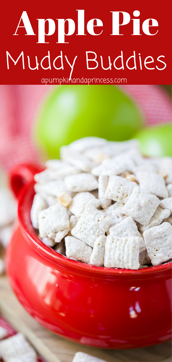 Apple pie muddy buddies are perfect for enjoying on a fall picnic or pumpkin patch!