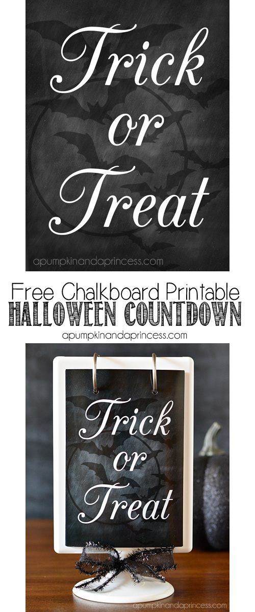 Free Chalkboad Printable to create a Halloween Countdown