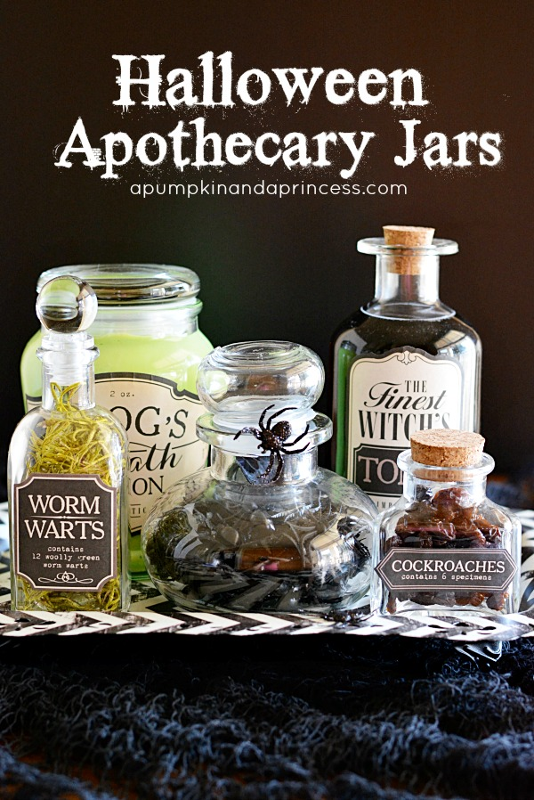 Halloween Apothecary Jars Display