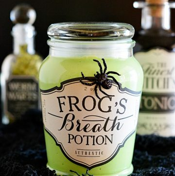 Halloween Apothecary Jars with Glow in the dark slime recipe