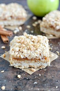 Toffee Caramel Apple Crumble Bars