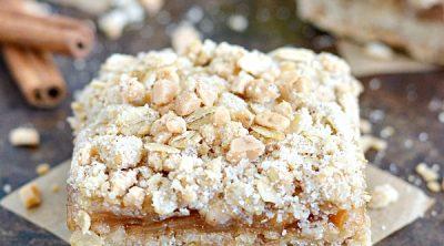 Toffee Caramel Apple Crumble Bars