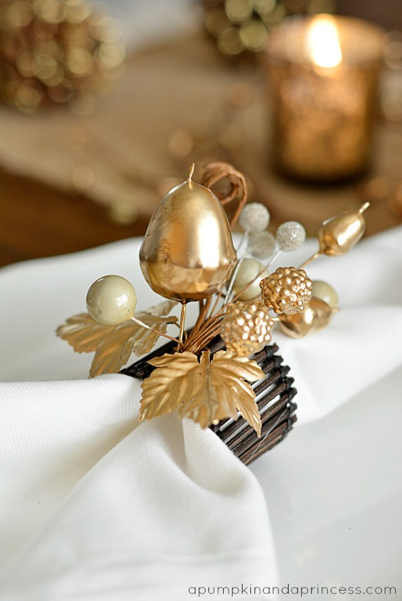 Thanksgiving inspired gold table decor dinner party a for Diy fall napkin rings