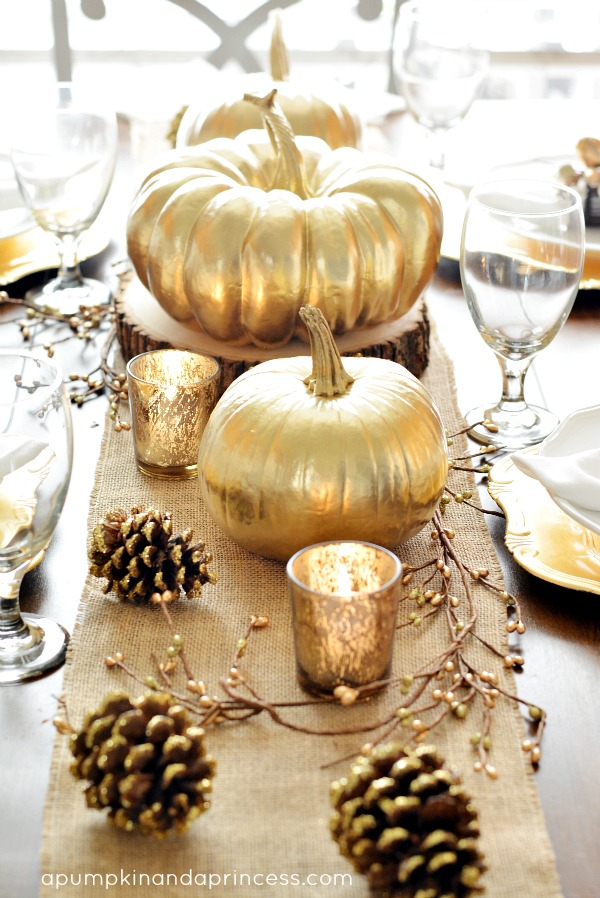 Thanksgiving Inspired Gold Table Decor {Dinner Party}