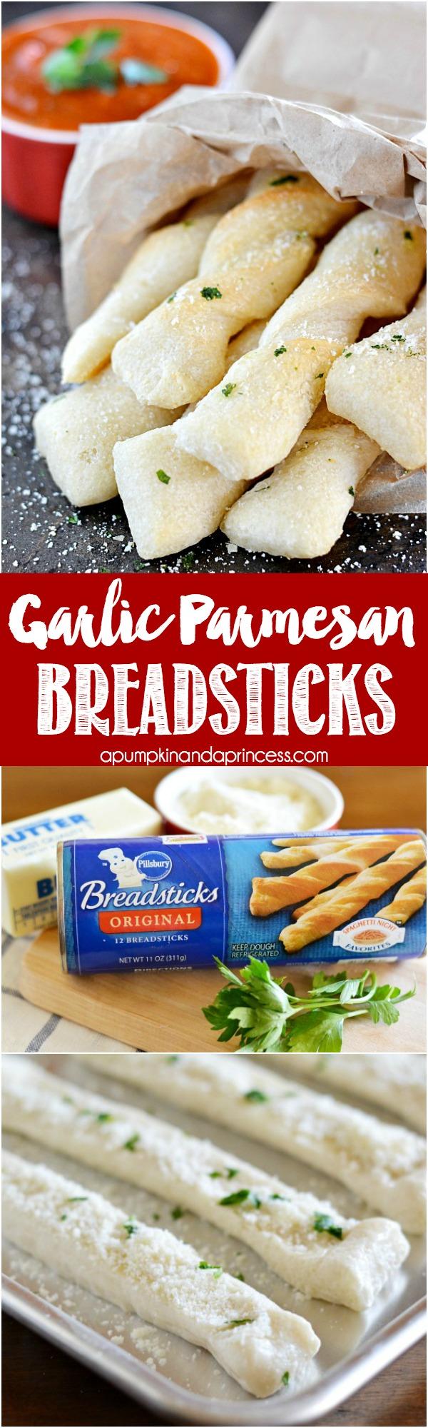 Garlic Parmesan Breadsticks - this garlic breadstick is SO easy to make!