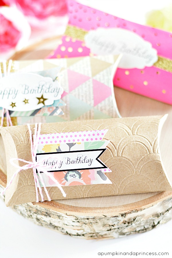 Birthday Pillow Boxes - Printable Gift Tags