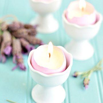 Lavender Eggshell Candles DIY