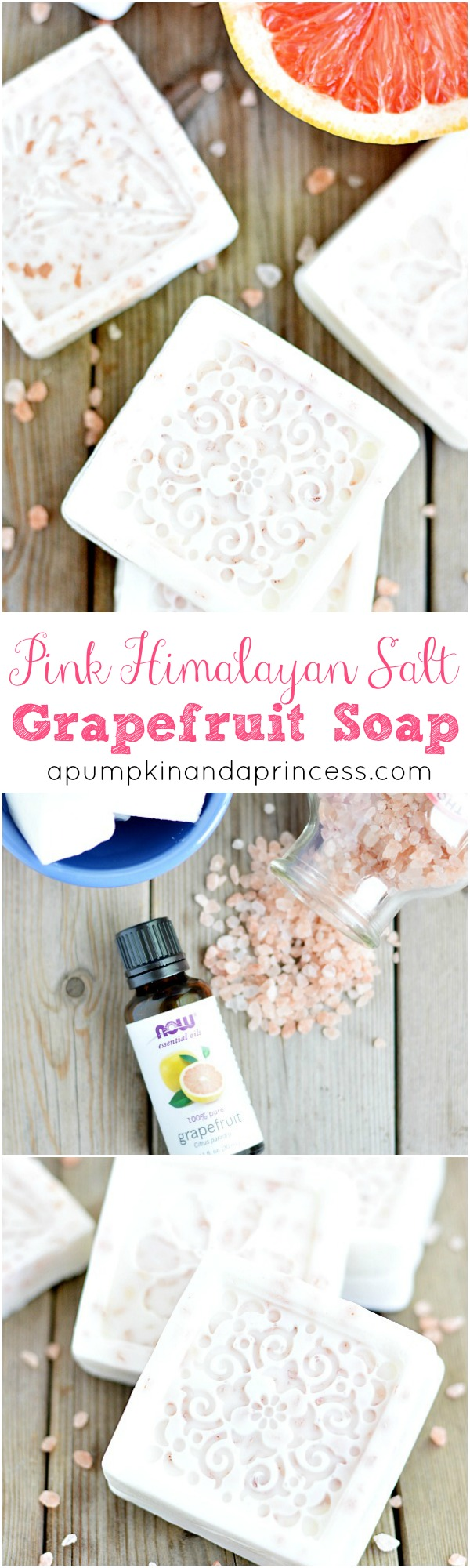 This melt and pour soap recipe is made with goat's milk soap, exfoliating Himalayan salt and grapefruit essential oil #soap #HimalayanSalt #grapefruit #essentialoil