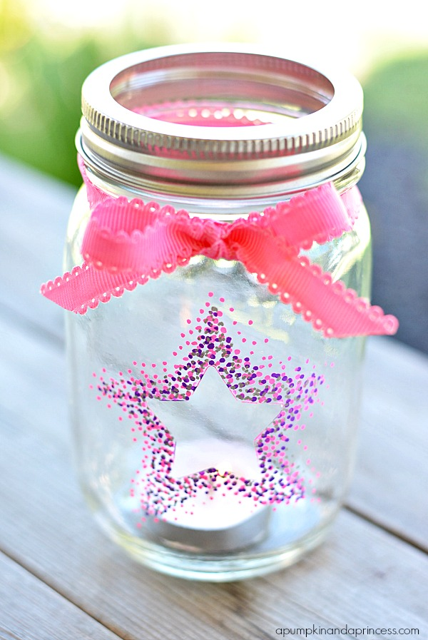 Painted Mason Jar Star Lanterns