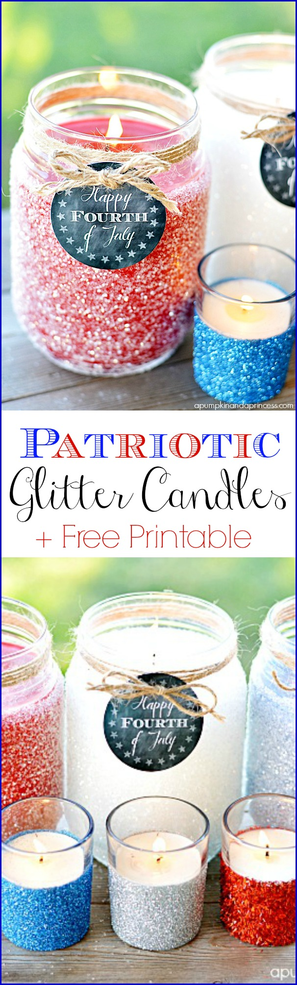 Patriotic Glitter Candles + Free Printable