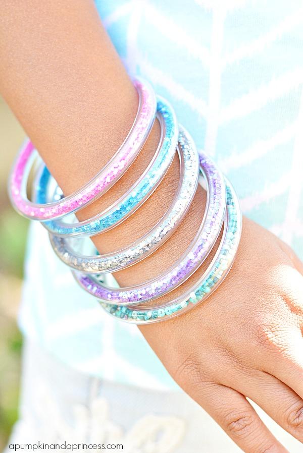 glitter tube bracelets