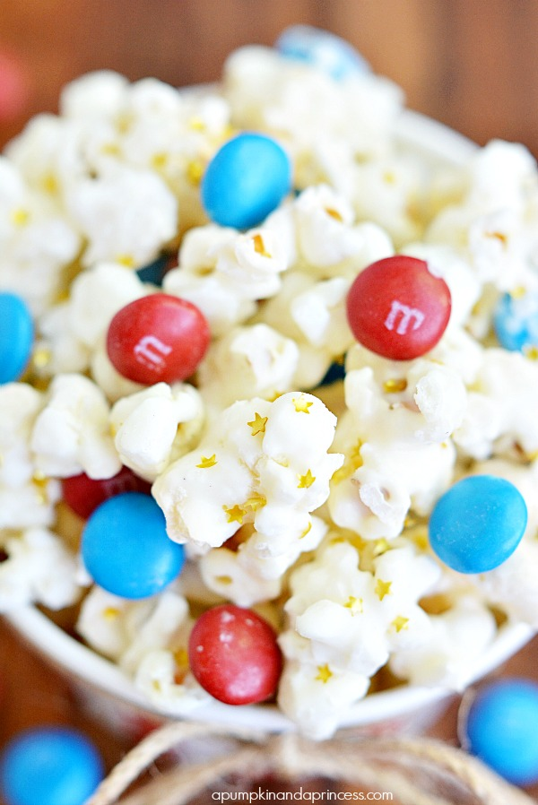 White Chocolate Popcorn - fourth of July treats