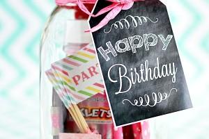 Birthday in a jar - printable birthday tags