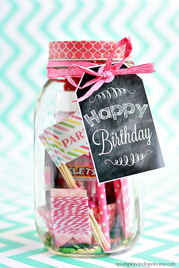 Birthday In A Jar Birthday Printable Tags A Pumpkin And A Princess