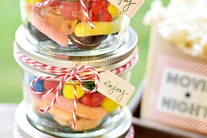 Candy Filled Mason Jars with Chalkboard Tags