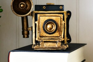 black and gold camera decoration
