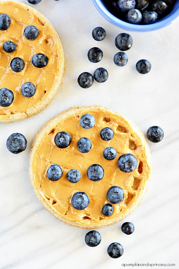 Whole Grain Blueberry Peanut Butter Waffles