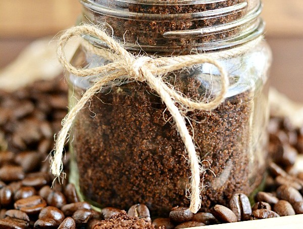 Easy DIY Coffee Sugar Scrub made with nourishing oils, coffee grounds and goats milk soap.