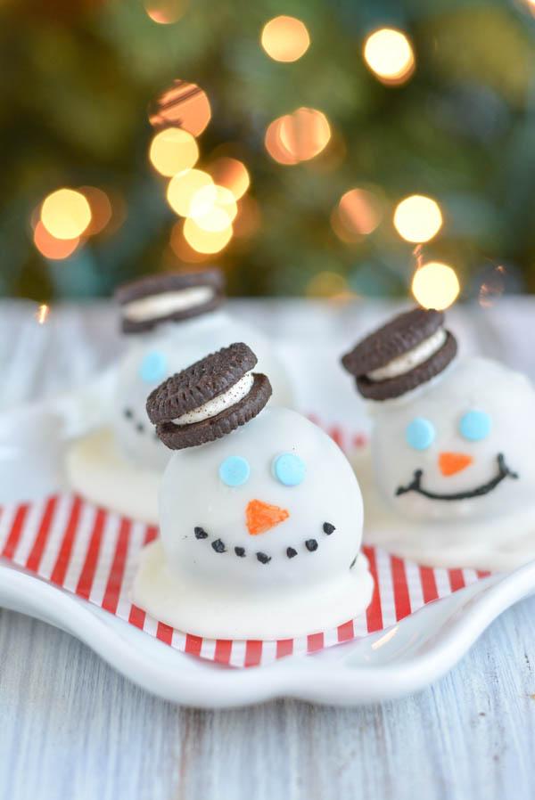 Melting Snowman Oreo Truffles