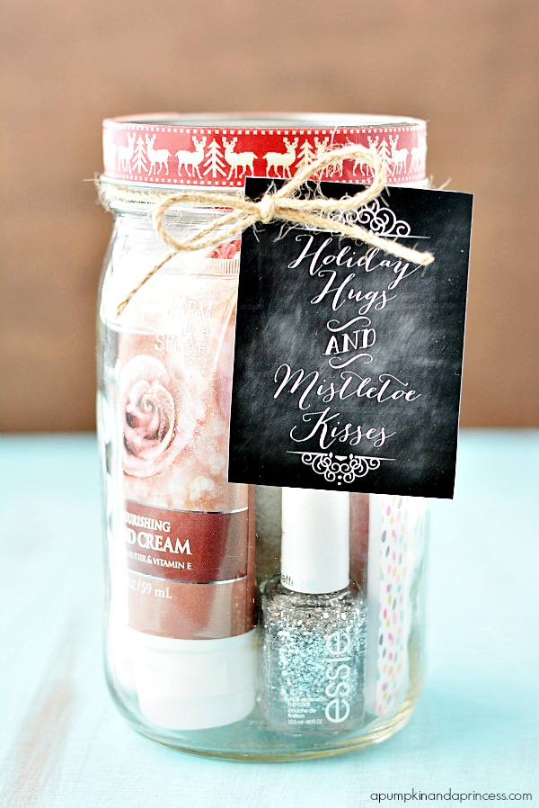 Pedi in a jar - holiday gift - Christmas Mason Jar Gifts