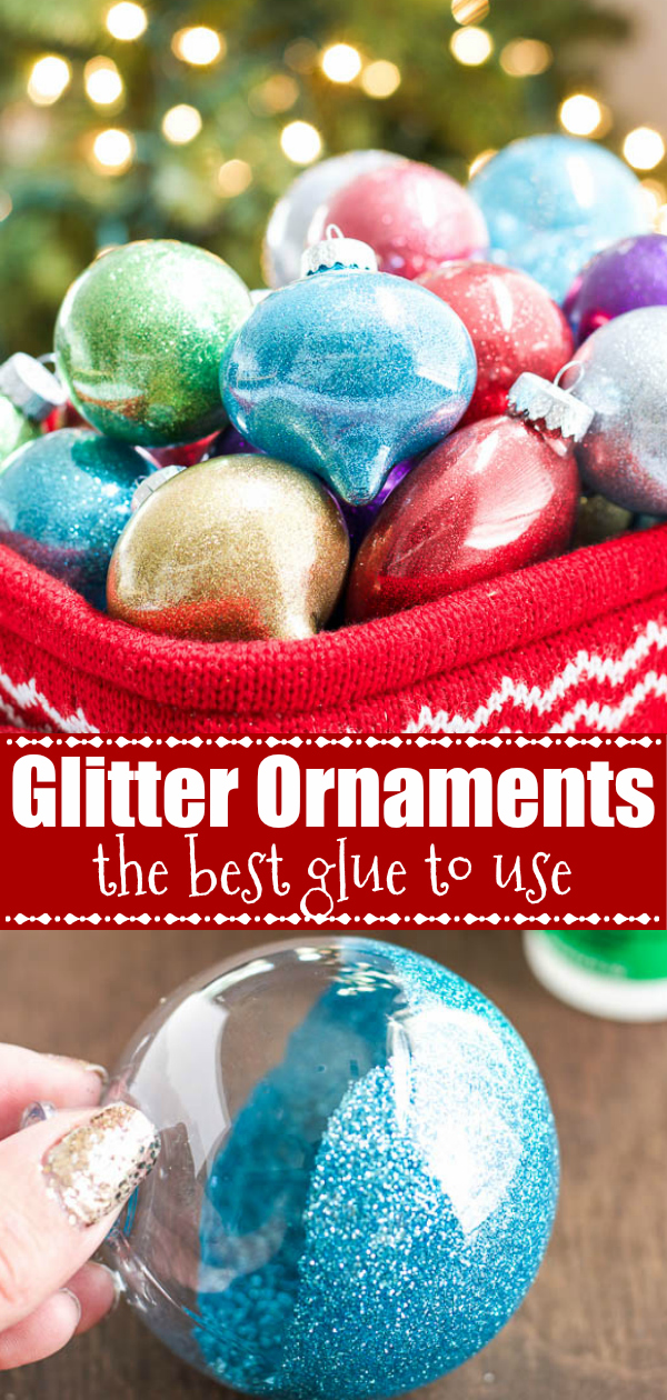 DIY Glitter Ornaments - the BEST glitter glue to use on glass and plastic ornaments #glitter #ornaments