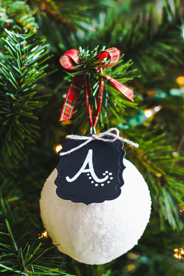 chalkboard snowball ornament