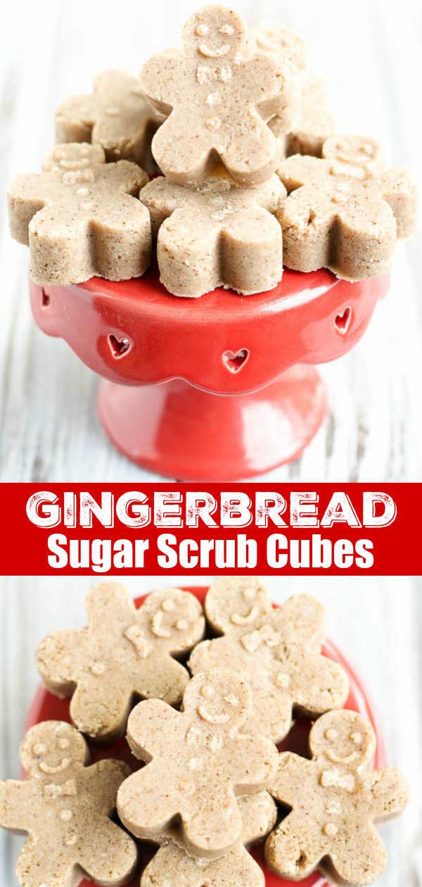 Exfoliating gingerbread sugar scrub soap cubes