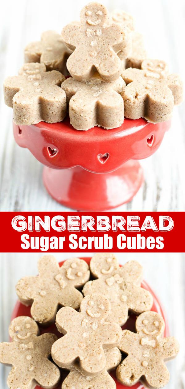 Exfoliating gingerbread sugar scrub soap cubes