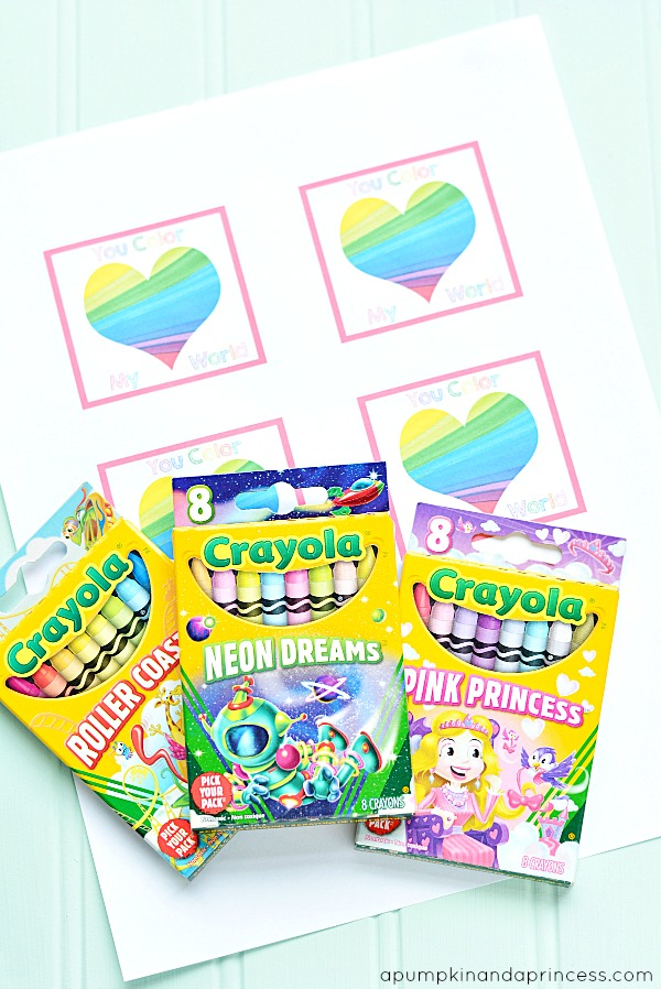 You Color My World Tag U003cu2014u2014u2014 Free Printable. Crayon Valentineu0027s.